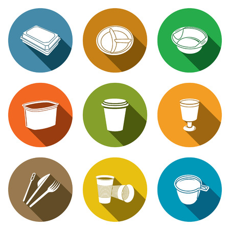Tableware icon collection on a colored background Vector