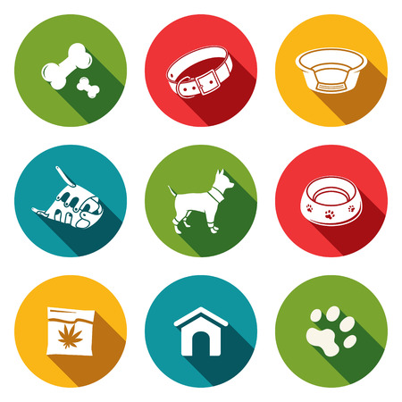 Dog icon collection on a colored background Çizim