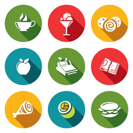Collection of icons on the food and drinks Vector