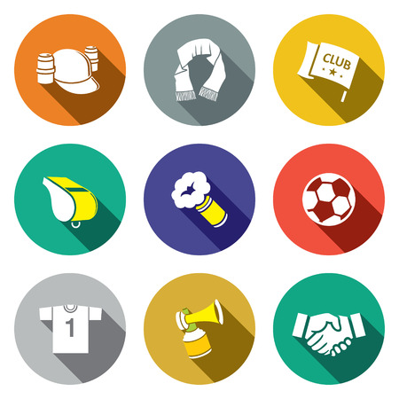 Attributes Soccer fan icons set on a colored background
