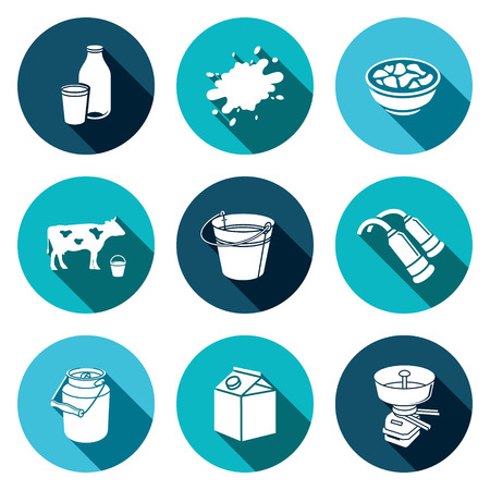 milk pail: Milk production icons set on a colored background