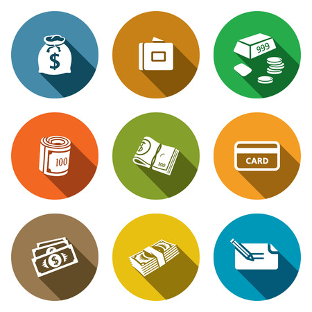 Money icon set on a colored background Vector