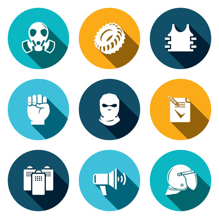 quadrant: Riots in the street vector icons set on a colored background Illustration