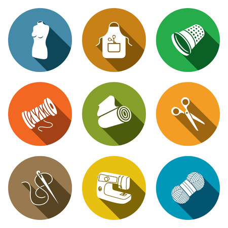 Sewing icons set on a colored background Illustration