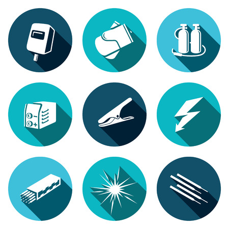 grounding: Welding icon collection on a colored background Illustration