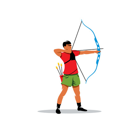bowstring: Sports archery, archer pulled the bowstring isolated on white background