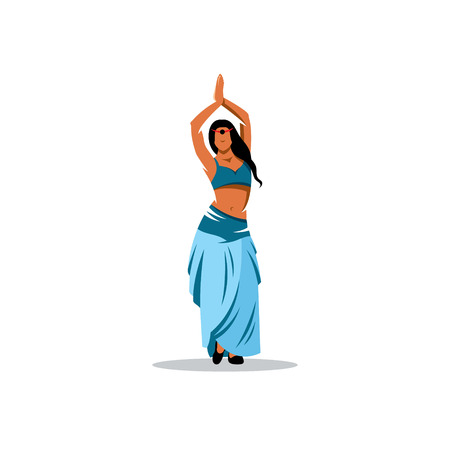 Beautiful Arabic belly dancer harem woman in blue with silver dress and head jewelry with gem dancing Illustration