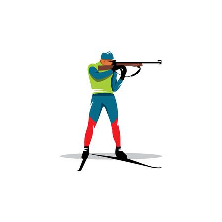 立っている位置にライフルでバイアスロンの選手
