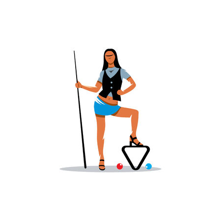 cue ball: Beautiful brunette holding a pool cue isolated on white background Illustration