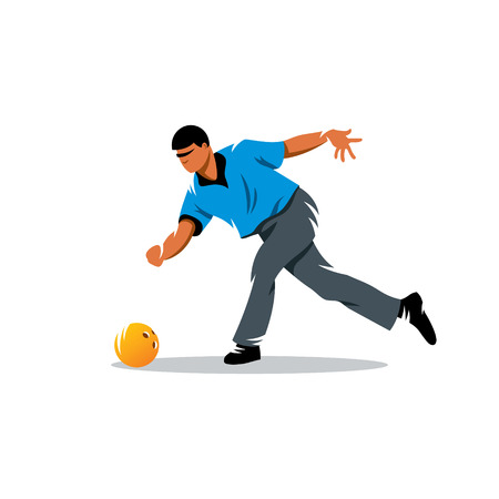 The bowler in a blue shirt on a white background