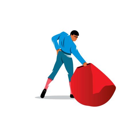 torero: Stierk�mpfer mit einem roten Umhang auf wei�em Hintergrund Illustration