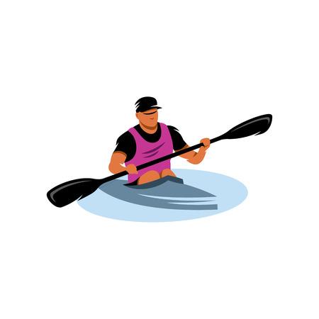 L'uomo con la pagaia e kayak su acqua