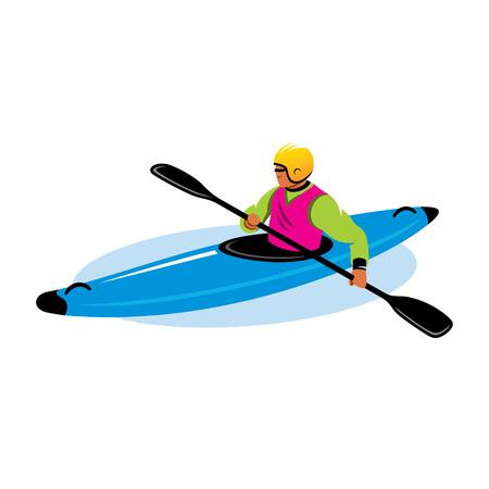 kayak: Mens in helm en zwemvest met peddel en kajak op het water Stock Illustratie