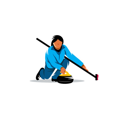 Girl curling starts granite stone isolated on white background