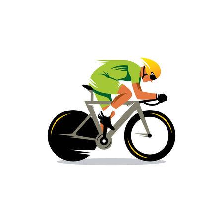 高速で移動緑のユニフォームのサイクリスト