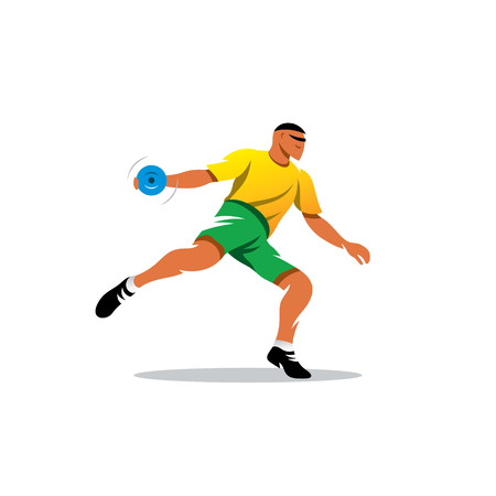 thrower: Disc thrower in the yellow-green uniform
