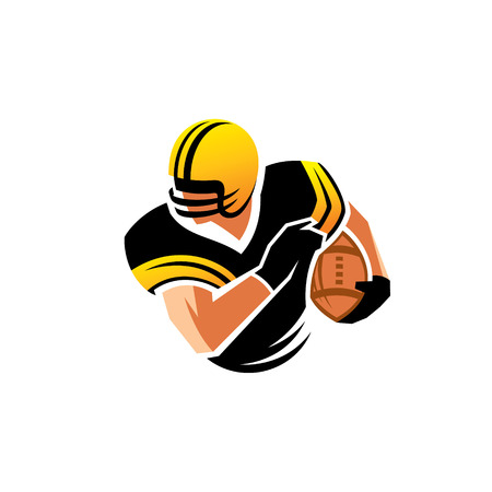 Football player wearing a helmet and ball Vector