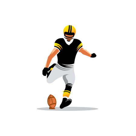 Football player kicking the ball isolated on white background