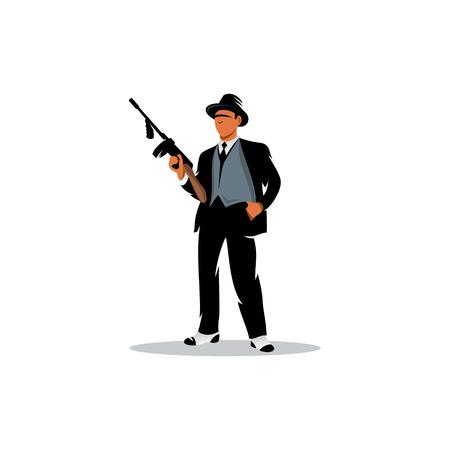 白い背景の上のトンプソン マシン銃を持って男