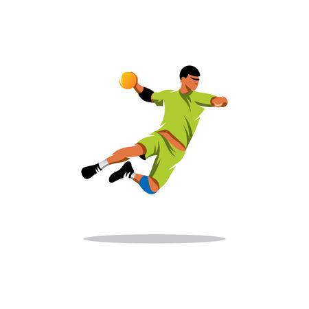 handball player jumping isolated on white background Illustration