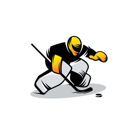 Hockey goalkeeper in yellow helmet isolated on white background