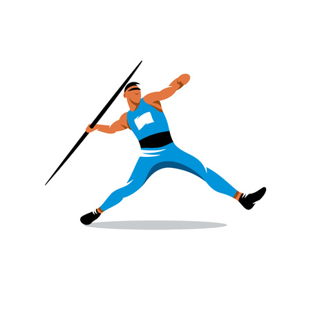 Athlete throwing javelin isolated on white background