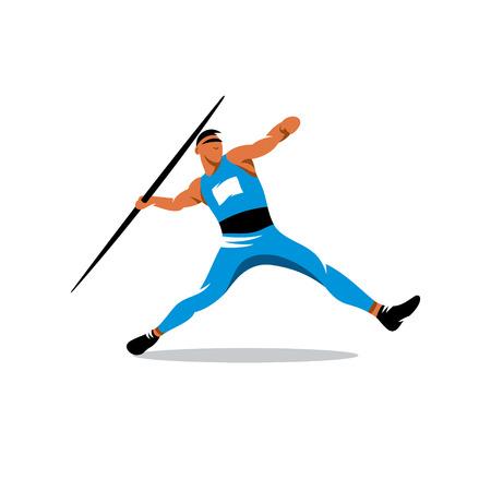 Athlete throwing javelin isolated on white background