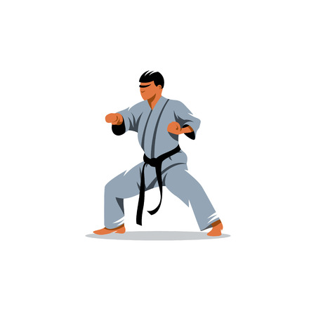 stance: karate fighting stance isolated on white background Illustration