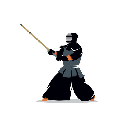 kendo: Kendo fighter. Japanese martial art of sword fighting.