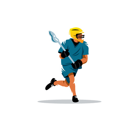 sport balls: Lacrosse Player in yellow helmet isolated on white background Illustration