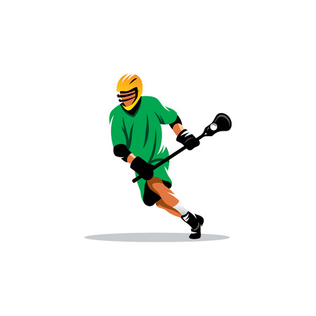 Lacrosse Player in yellow helmet isolated on white background Illustration
