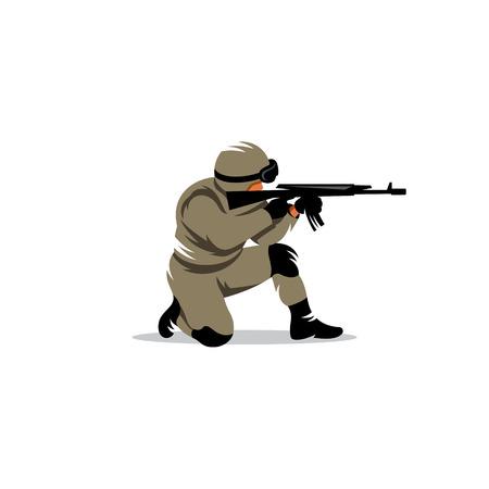 infantry: Armed military preparing to shoot a machine gun