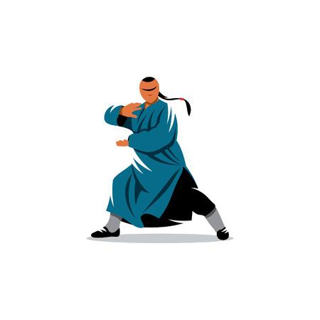 少林カンフー fu の武道空手マスター戦いの姿勢で  イラスト・ベクター素材