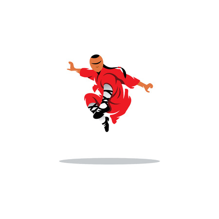 Shaolin kung fu martial arts karate master jumping Vector