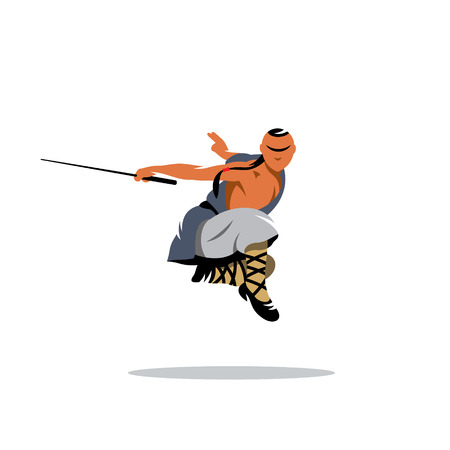 Shaolin Wushu martial arts master with sword jumping Illustration