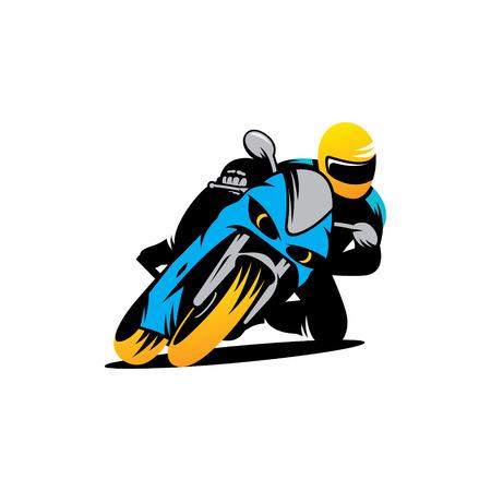 オートバイのレース、フルスピードでオートバイの青