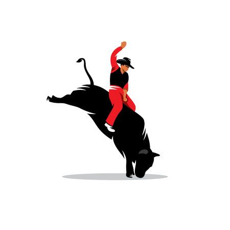 Rodeo cowboy riding bucking bull isolated white background Stock Illustratie