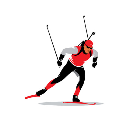 biathlon skier running distance isolated white background Çizim