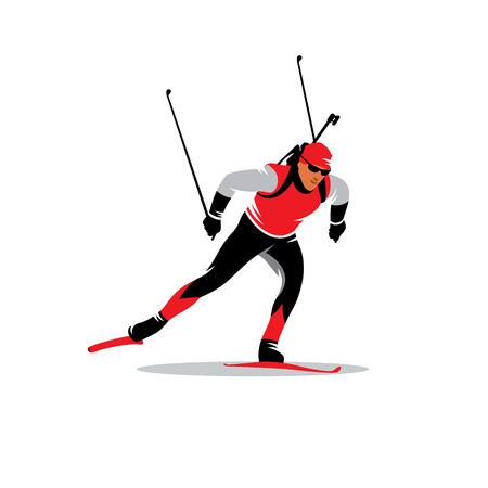 biathlon skier running distance isolated white background Illustration