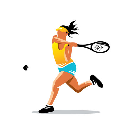 Woman playing tennis isolated on white background Vector