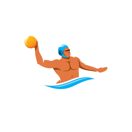 waterpolo: Jugador de polo del agua con una pelota aislados sobre fondo blanco Vectores