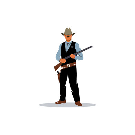 deputy: Wild west. Cartoon sheriff with shotgun isolated white background