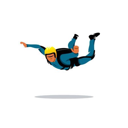 地面に飛んで青い制服を着たスカイダイバー