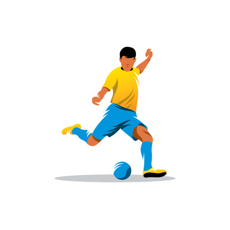 soccer player kicks the ball isolated on a white background Vectores
