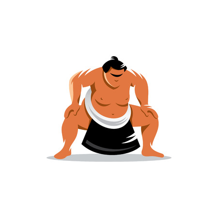 Sumo wrestler in a traditional rack isolated on a white background Çizim