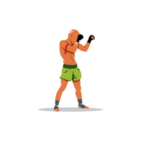 Muay Thai athlete standing in a fighting stance isolated on white background