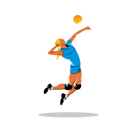 in net: female volleyball player with a ball isolated on white background Illustration