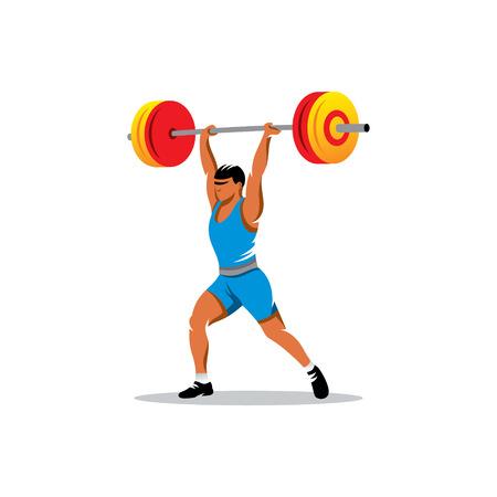 hombre levantando pesas: Pesos de elevaci�n del hombre fuerte y hermoso aisladas sobre fondo blanco
