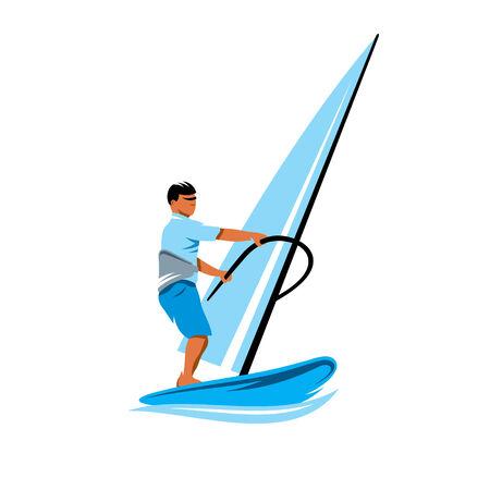 windsurf: Man windsurfing in splashes of water isolated on white background Illustration