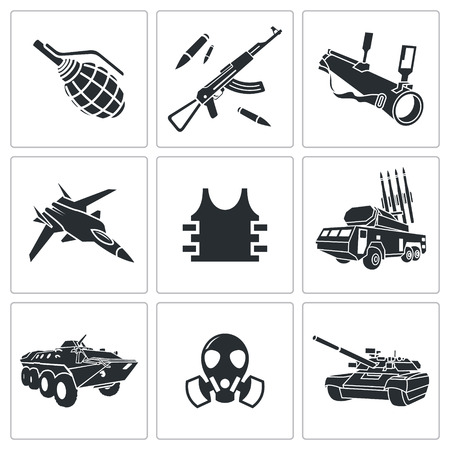 armament: Armament vector icon collection on a white background